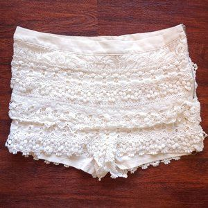 Ark & Co Anthropologie Lace Ivory Shorts